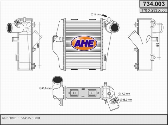Intercooler radiateur de turbo AHE 734.003 (X1)