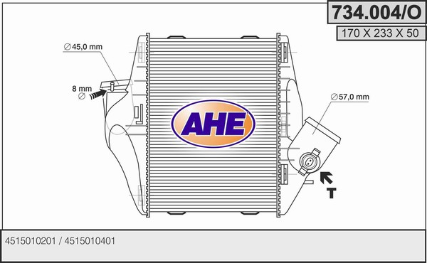 Intercooler radiateur de turbo AHE 734.004/O (X1)