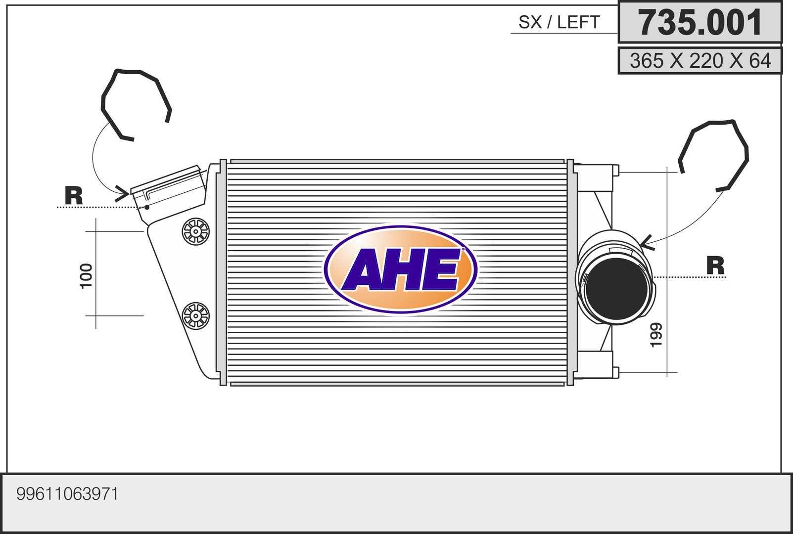 Intercooler radiateur de turbo AHE 735.001 (X1)