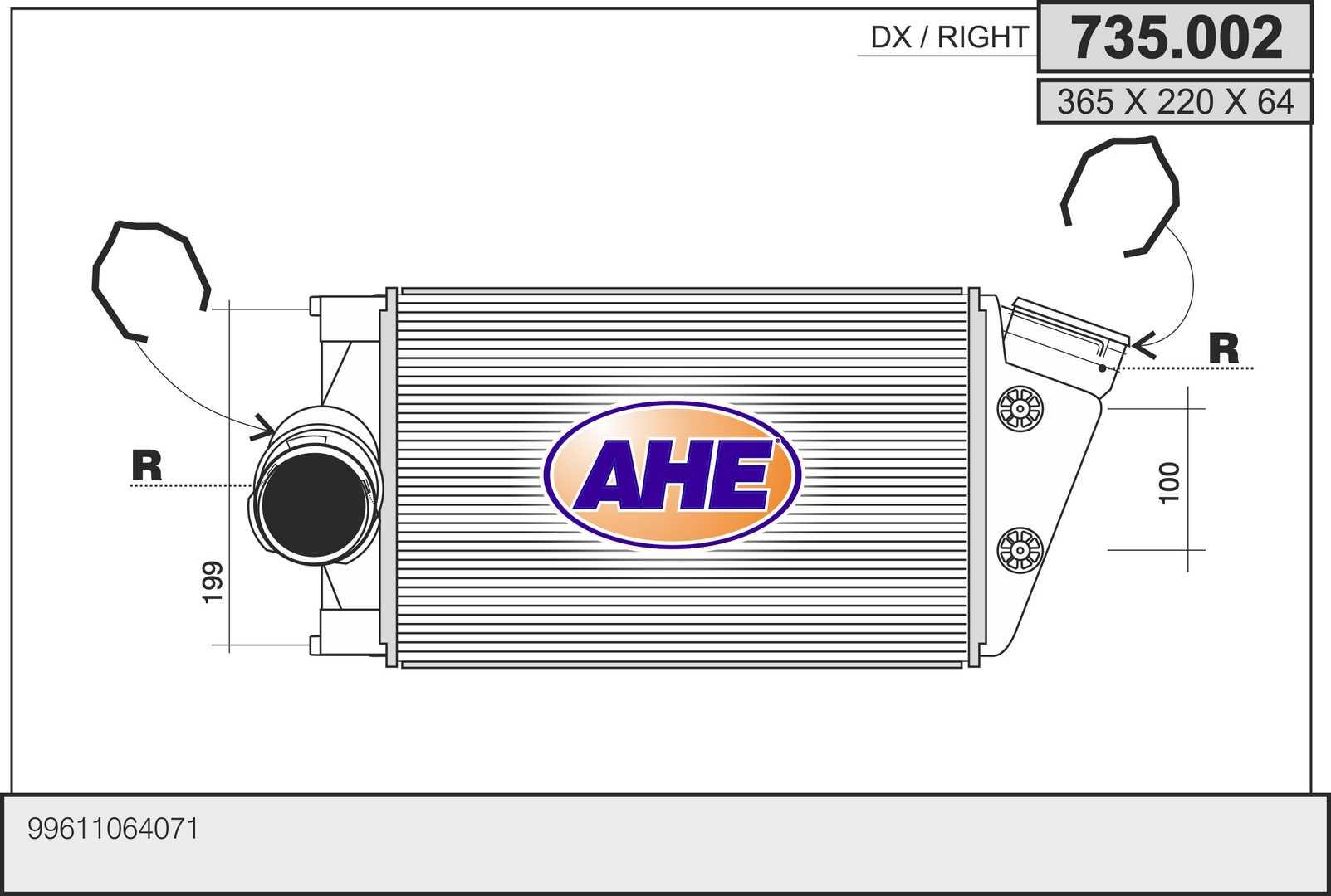 Intercooler radiateur de turbo AHE 735.002 (X1)