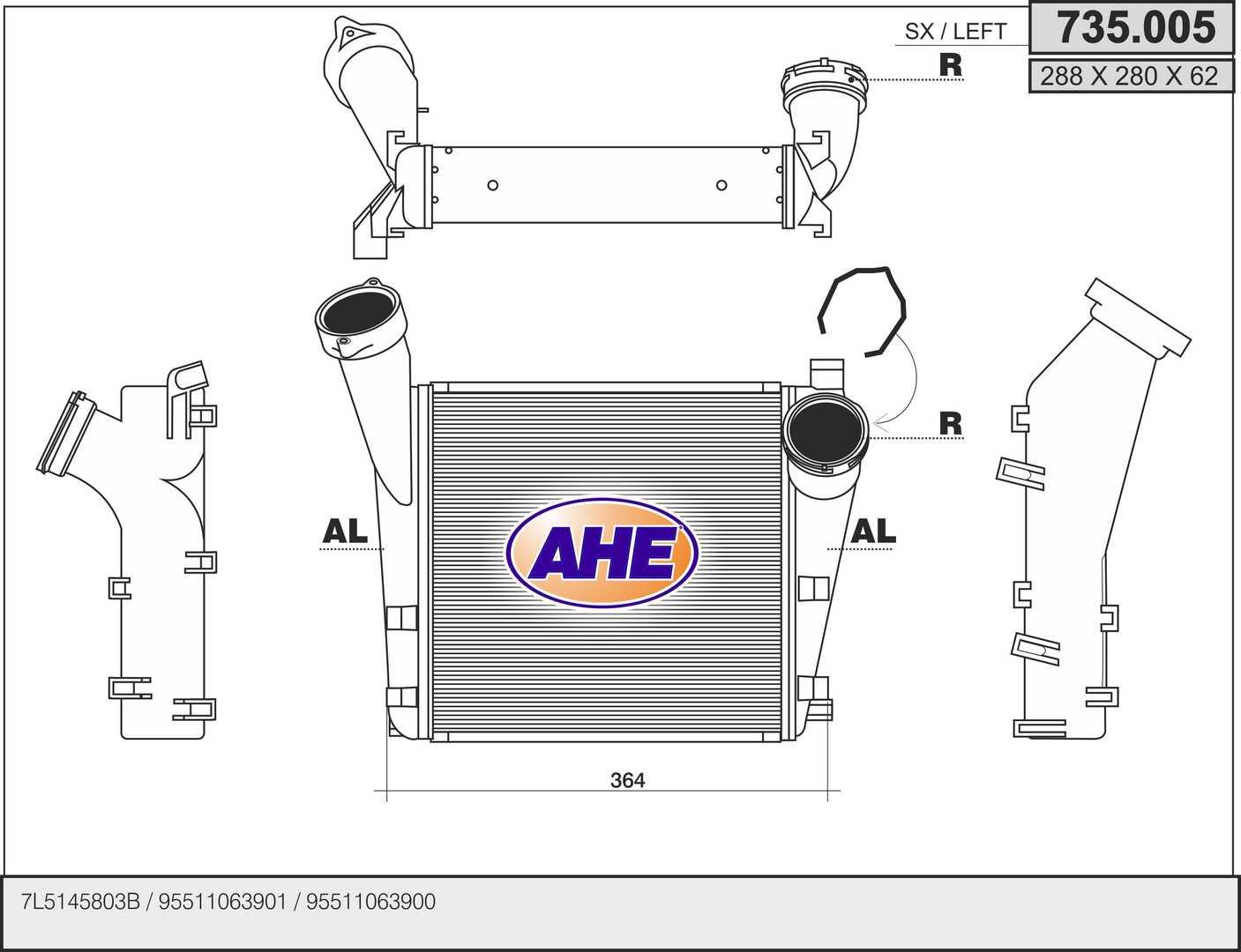 Intercooler radiateur de turbo AHE 735.005 (X1)