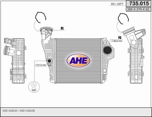 Intercooler radiateur de turbo AHE 735.015 (X1)