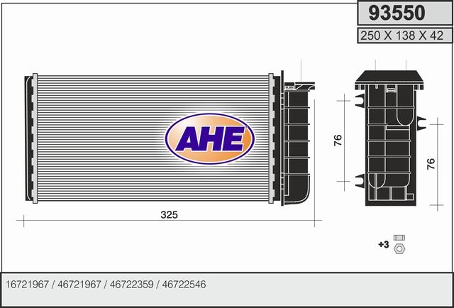 Radiateur de chauffage AHE 93550 (X1)
