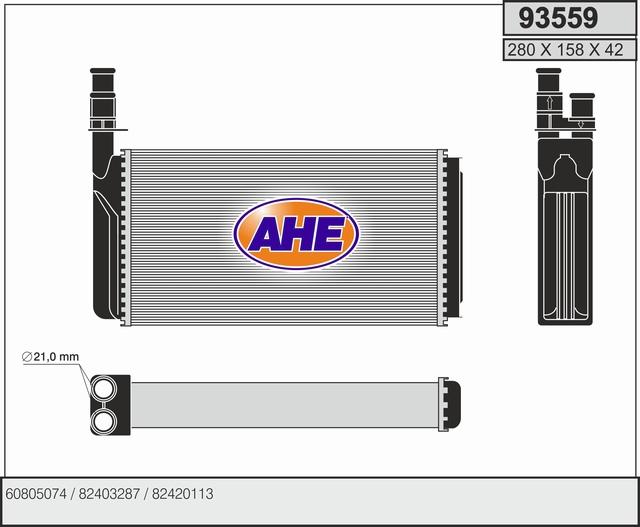 Radiateur de chauffage AHE 93559 (X1)