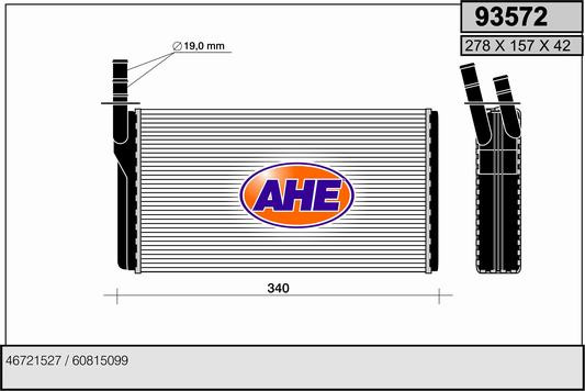 Radiateur de chauffage AHE 93572 (X1)