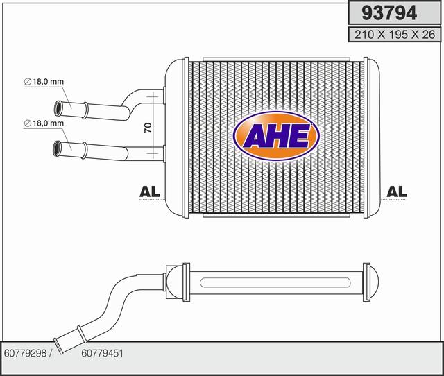 Radiateur de chauffage AHE 93794 (X1)
