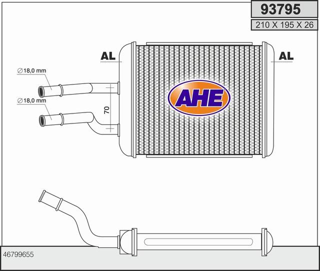 Radiateur de chauffage AHE 93795 (X1)
