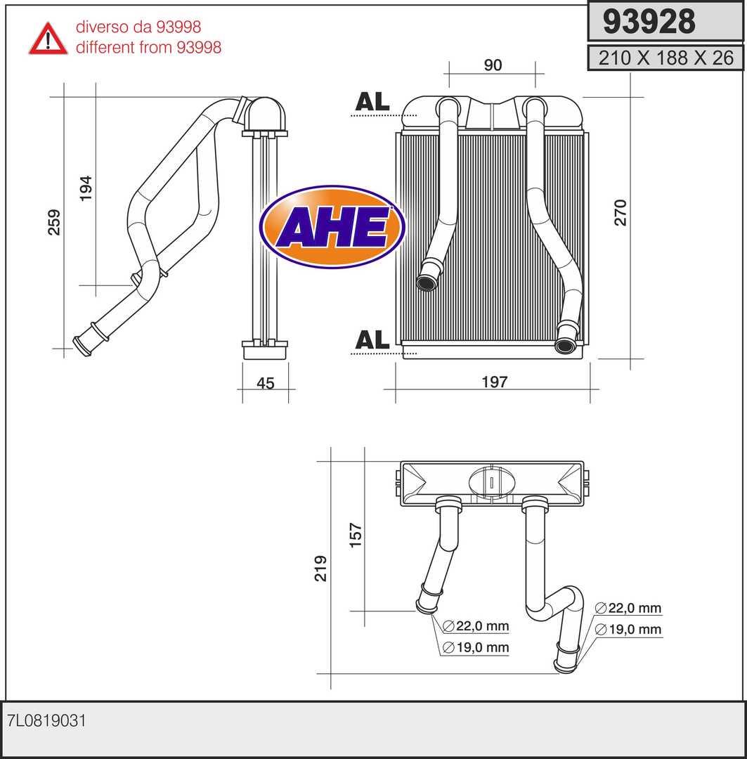 Radiateur de chauffage AHE 93928 (X1)