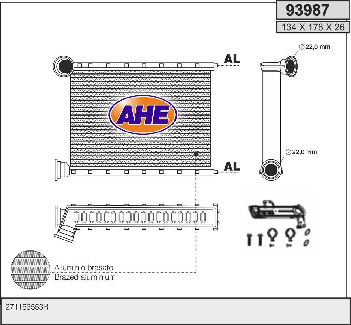 Radiateur de chauffage AHE 93987 (X1)