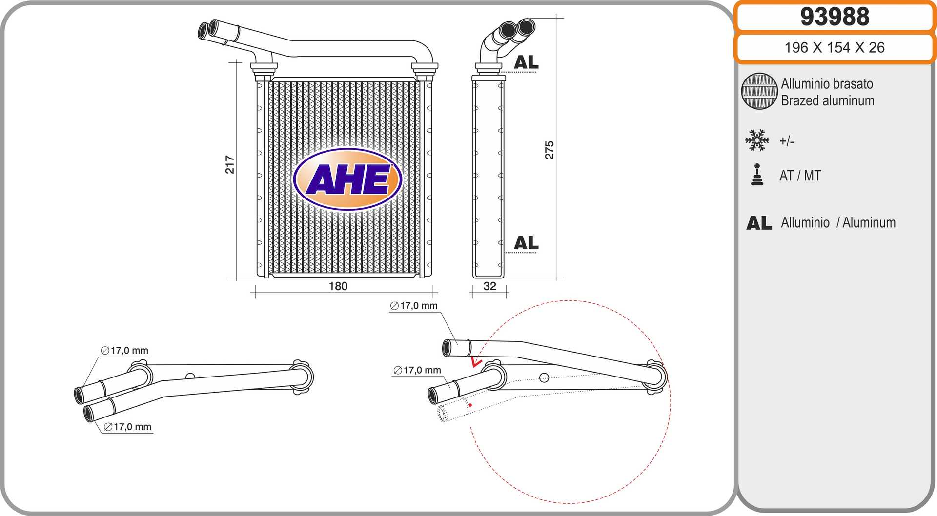 Radiateur de chauffage AHE 93988 (X1)