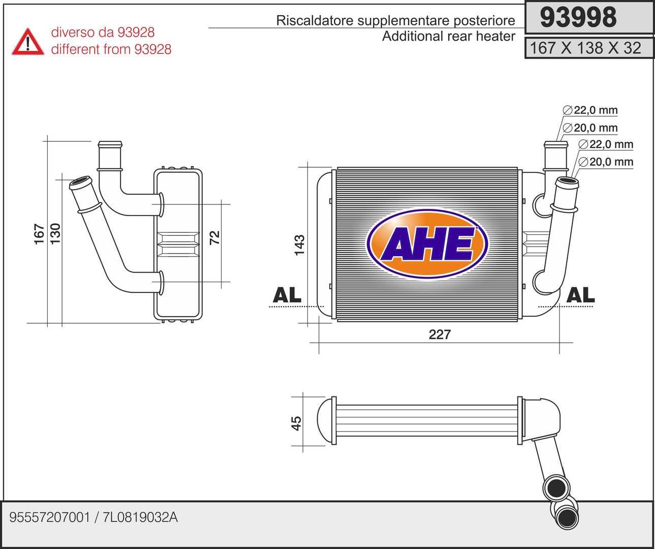 Radiateur de chauffage AHE 93998 (X1)
