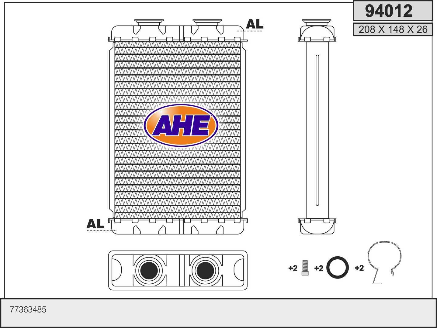 Radiateur de chauffage AHE 94012 (X1)