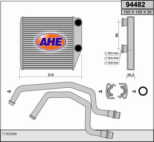 Radiateur de chauffage AHE 94482 (X1)