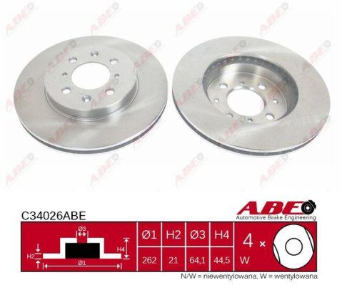 Disque de frein avant ABE C34026ABE (X1)