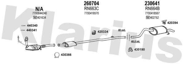 collier echappement 254-930  RENAULT CLIO II 2 1.4 75ch B//CB0C