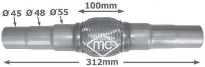 Tuyau flexible, échappement Metalcaucho 02045 (X1)