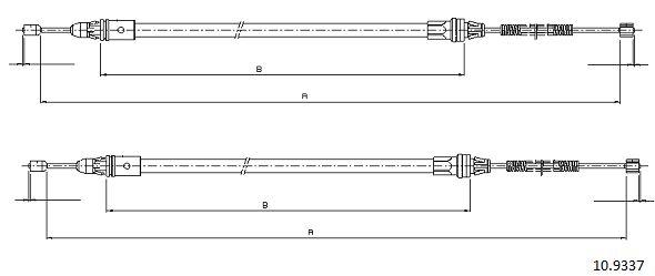 Cable de frein à main CABOR 10.9337 (X1)