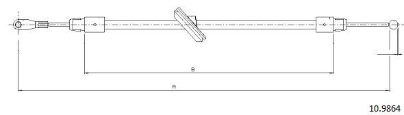 Cable de frein à main CABOR 10.9864 (X1)