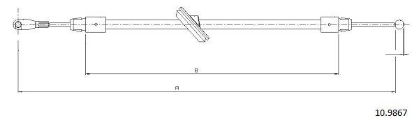 Cable de frein à main CABOR 10.9867 (X1)