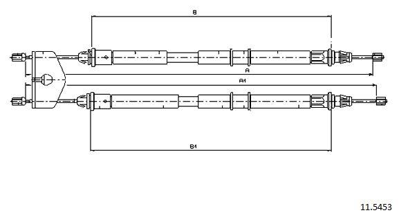 Cable de frein à main CABOR 11.5453 (X1)