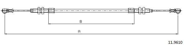 Cable d'accelerateur CABOR 11.9610 (X1)