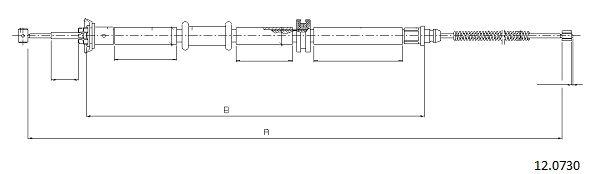 Cable de frein à main CABOR 12.0730 (X1)