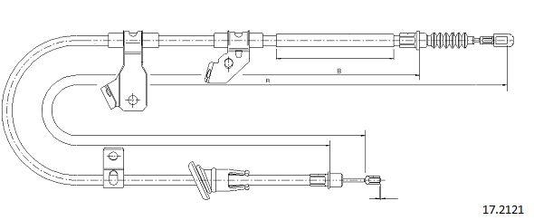 Cable de frein à main CABOR 17.2121 (X1)