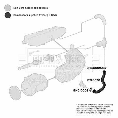 Tuyau d'aspiration, alimentation d'air BORG & BECK BTH1670 (X1)