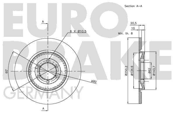 Disque de frein arriere EUROBRAKE 5815201013 (Jeu de 2)