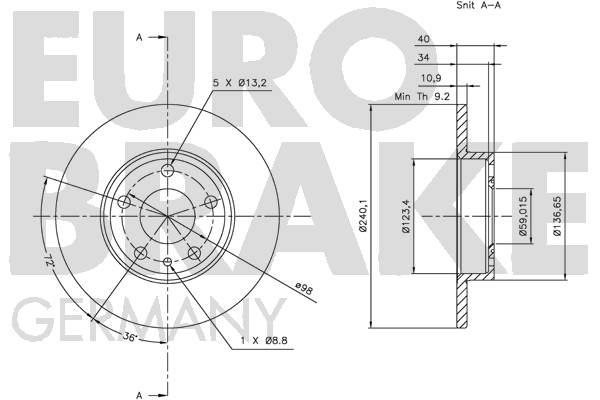 Disque de frein arriere EUROBRAKE 5815201020 (Jeu de 2)