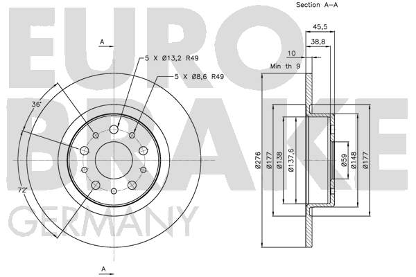 Disque de frein arriere EUROBRAKE 5815201021 (Jeu de 2)