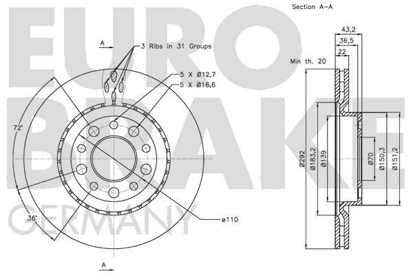 Disque de frein arriere EUROBRAKE 5815201025 (Jeu de 2)