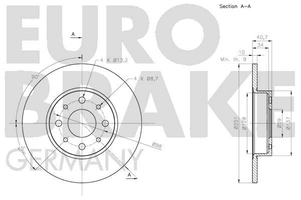 Disque de frein arriere EUROBRAKE 5815201028 (Jeu de 2)