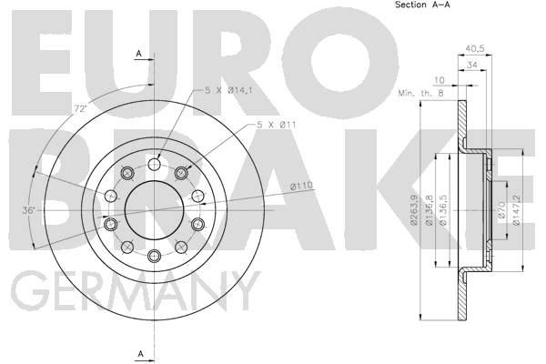 Disque de frein arriere EUROBRAKE 5815201035 (Jeu de 2)