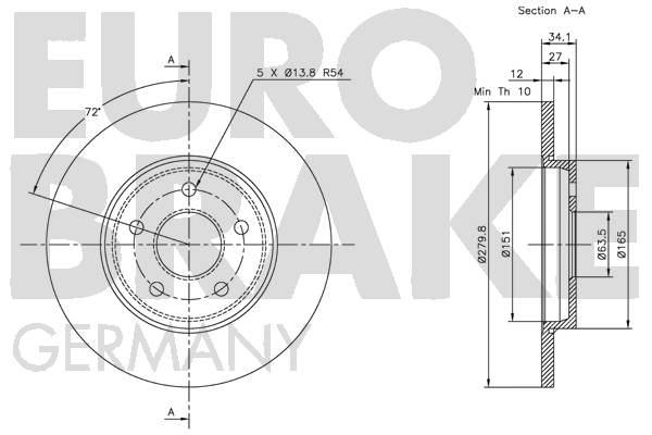 Disque de frein EUROBRAKE 5815202551 (Jeu de 2)