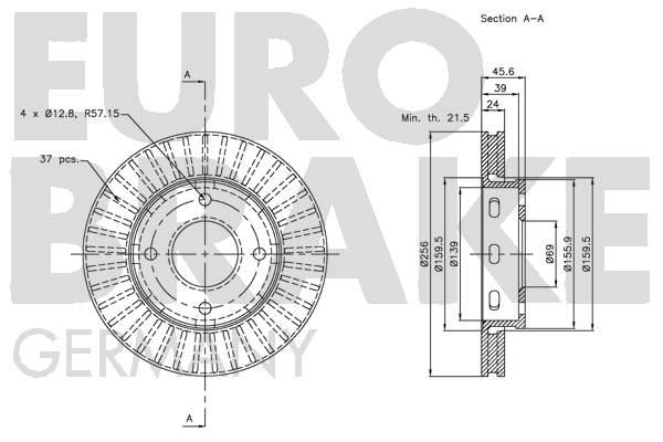 Disque de frein avant EUROBRAKE 5815203035 (Jeu de 2)