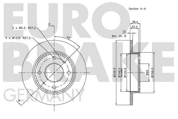 Disque de frein arriere EUROBRAKE 5815203036 (Jeu de 2)