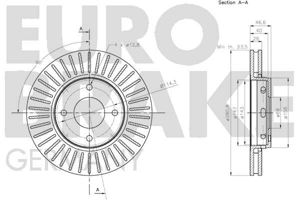 Disque de frein avant EUROBRAKE 5815203086 (Jeu de 2)