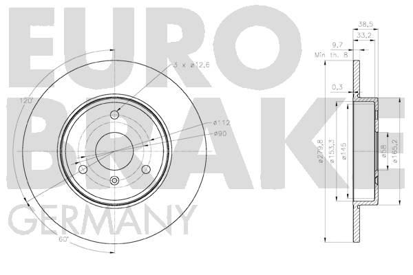 Disque de frein avant EUROBRAKE 58152033128 (X1)