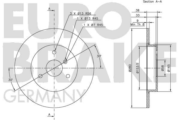 Disque de frein avant EUROBRAKE 5815203348 (Jeu de 2)
