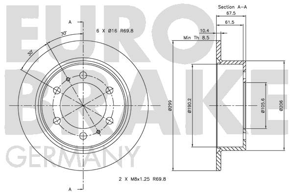Disque de frein arriere EUROBRAKE 5815205003 (Jeu de 2)