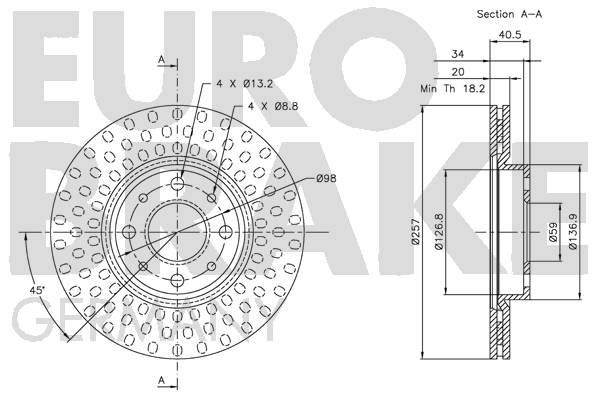 Disque de frein avant EUROBRAKE 5815209921 (Jeu de 2)