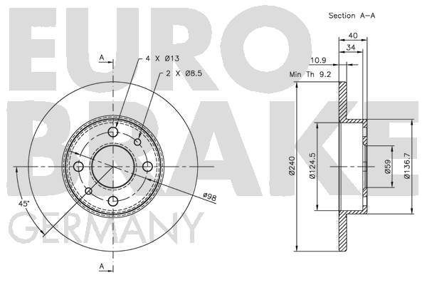Disque de frein EUROBRAKE 5815209922 (Jeu de 2)