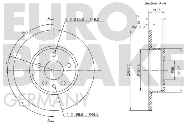 Disque de frein arriere EUROBRAKE 5815209926 (Jeu de 2)