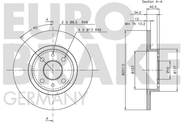 Disque de frein EUROBRAKE 5815209932 (Jeu de 2)