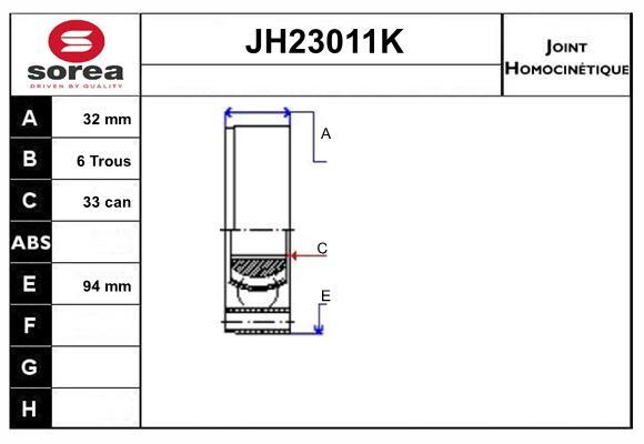 Joints spi/homocinetiques SERA JH23011K (X1)