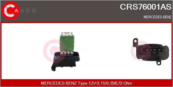 Resistance moteur de ventilateur de chauffage CASCO CRS76001AS (X1)