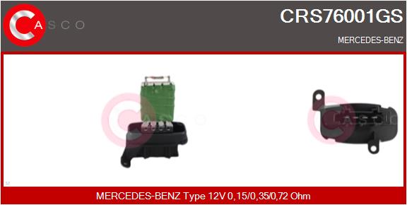 Resistance moteur de ventilateur de chauffage CASCO CRS76001GS (X1)