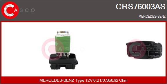Resistance moteur de ventilateur de chauffage CASCO CRS76003AS (X1)