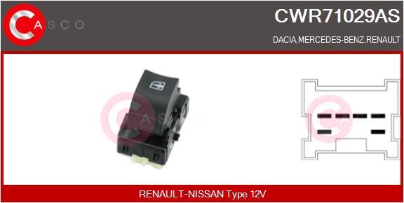 Interrupteur, leve-vitre CASCO CWR71029AS (X1)